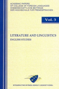 Literature and Linguistics, Vol 3. English Studies